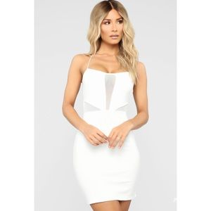 Fashion Nova White Mesh Cut Out Mini Dress NWT XL